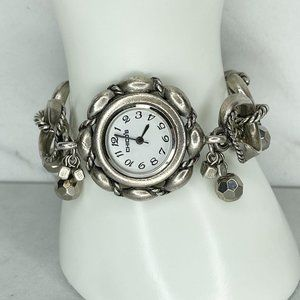 Chico's Silver Tone Beaded Toggle Bracelet Watch Needs Battery